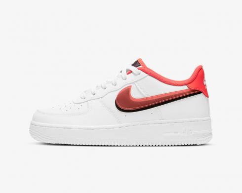 Nike Air Force 1 LV8 GS Double Swoosh Bright Crimson White Black CW1574-101