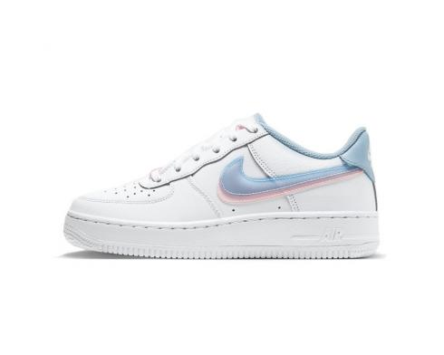 Nike Air Force 1 LV8 GS Double Swoosh White Armory Blue Pink CW1574-100