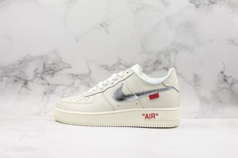 Off-White x Nike Air Force 1 Low 07 Queen Metallic Sliver Red AO4298-100