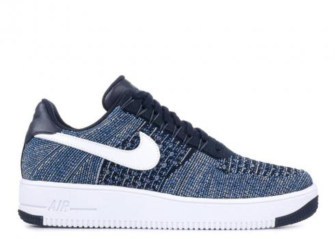 Nike Af1 Ultra Flyknit Low Obsidian Blue Platinum Star Pure White 817419-400