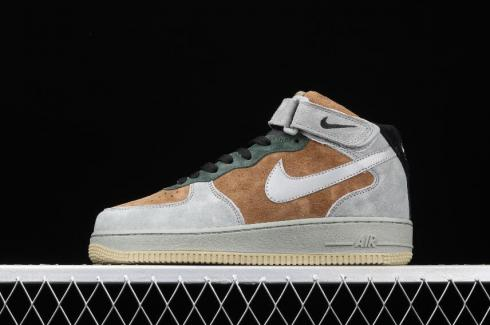 Nike Air Force 1 07 Mid Dark Gray Green Brown Reflective Silver CQ5059-103
