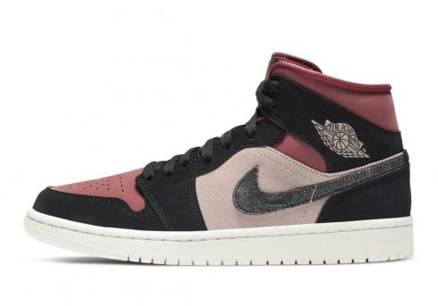 Air Jordan 1 Mid Burgundy Dusty Pink Basketball Shoes BQ6472-202