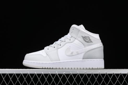 Wmns Air Jordan 1 Mid SE GS Swoosh Logo Grey Camo White Photon Dust DD3235-100
