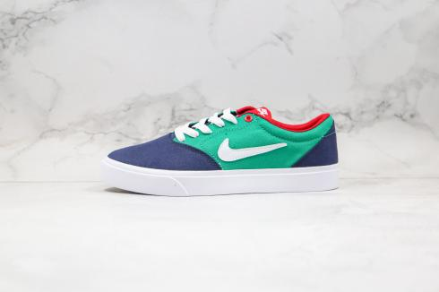 Nike SB Charge Solarsoft Midnight Navy Green White Blue Shoes CD6279-401