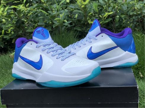 Nike Zoom Kobe 5 Protro Hornets White Blue Purple Shoes CD4991-110